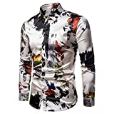 Mens Printed Shirt Long Sleeve Slim Fit Button Down Dress Shirts Casual Stylish