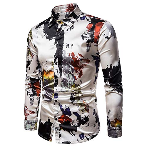 Mens Printed Shirt Long Sleeve Slim Fit Button Down Dress Shirts Casual Stylish ()
