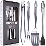 Heavy Duty BBQ Grilling Tools Set. Extra Thick Stainless Steel Spatula, Fork