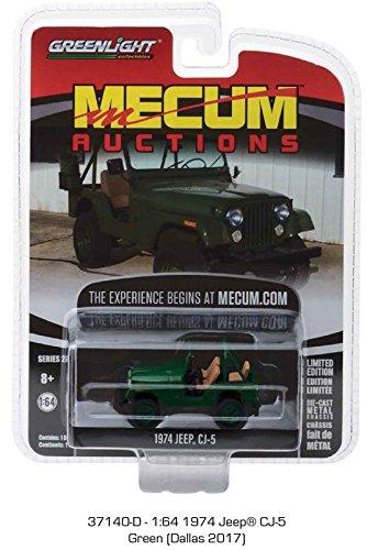 NEW DIECAST TOYS CAR GREENLIGHT 1:64 MECUM AUCTIONS SERIES 2-1974 JEEP CJ-5 GREEN (Jeep Cj5 Series)
