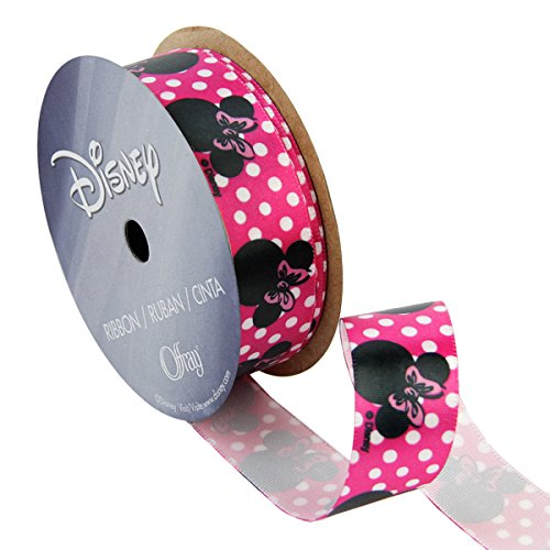 Offray Minnie Mouse Craft Ribbon, 7/8-Inch by 9-Feet, Shocking Pink -