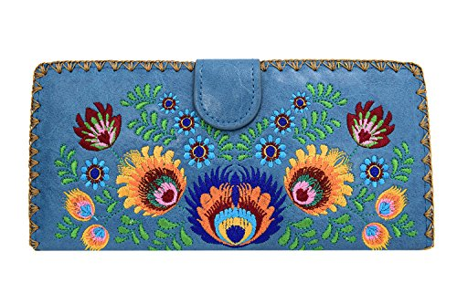 Embroidered Wallet (Lavishy Colorful Bohemian Flower Bouquet Embroidered Beautiful Large Wallet (Blue))
