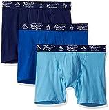 Original Penguin Men's Cotton Stretch Boxer Brief Underwear, Multipack, Delphinium, Classic, Medieval Blue - 3 Pack, Large