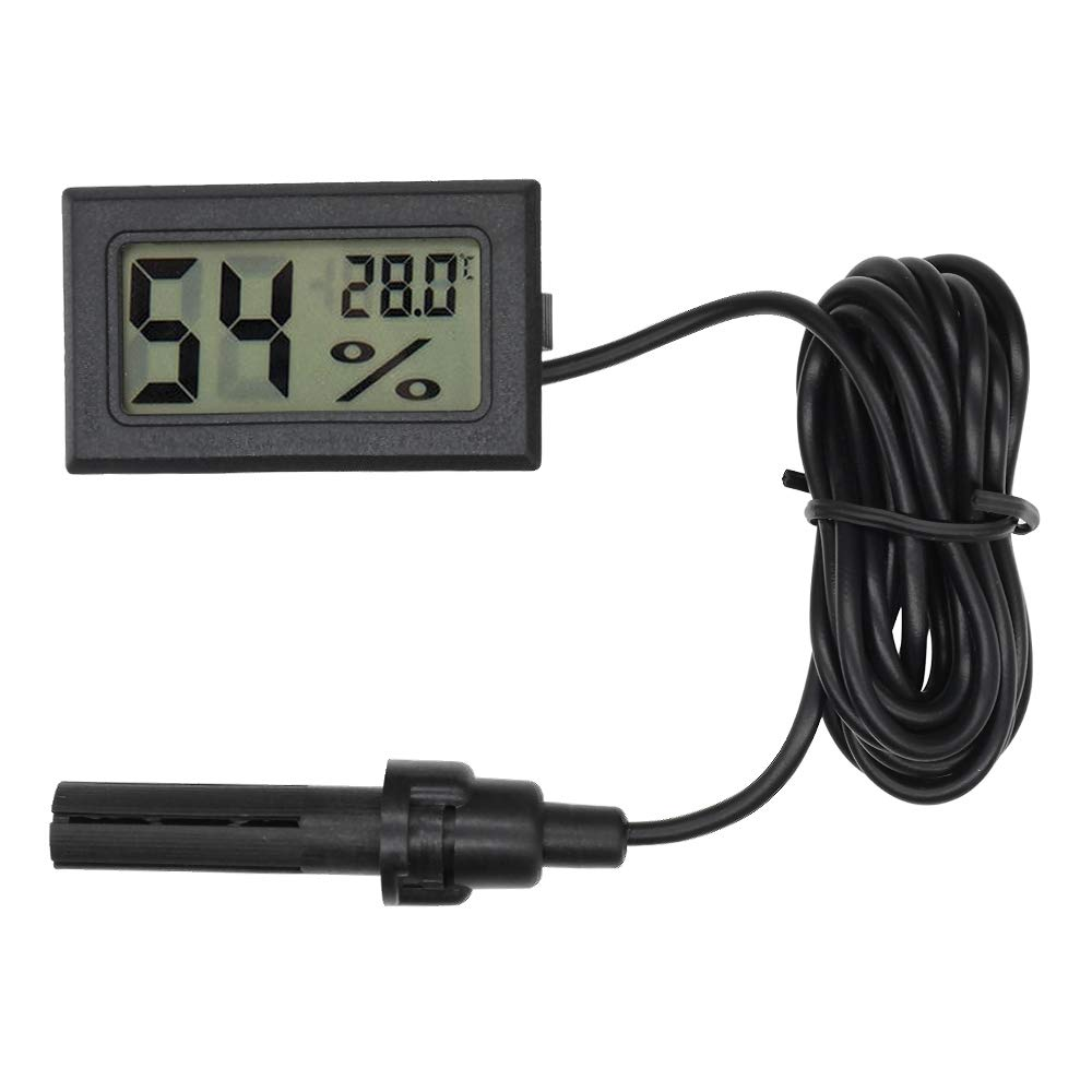 diymore LCD Digital Mini Embedded Thermometer Hygrometer Temperature Humidity Gauge Meter Probe for Reptile Incubator Aquarium Poultry (White with Cable)