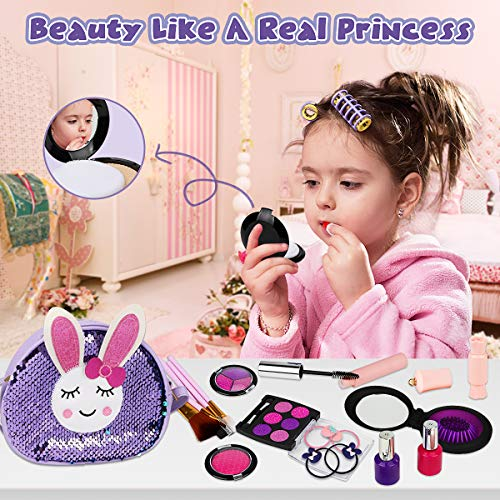 Libay Kids Makeup Kit - 30 Pc Pretend Makeup Set for Girl with Shinny Rabbit Cosmetic Bag Include Everything Your Princess Needs, Great Gift for Little Girls 3 4 5 6 7 8 Year Old (Not Real Makeup)