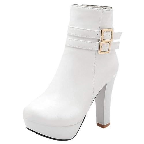 COOLCEPT Mujer Elegante Tacón Alto Botas de Tobillo Tacón Ancho Vestido Botines Cremallera White Size 34