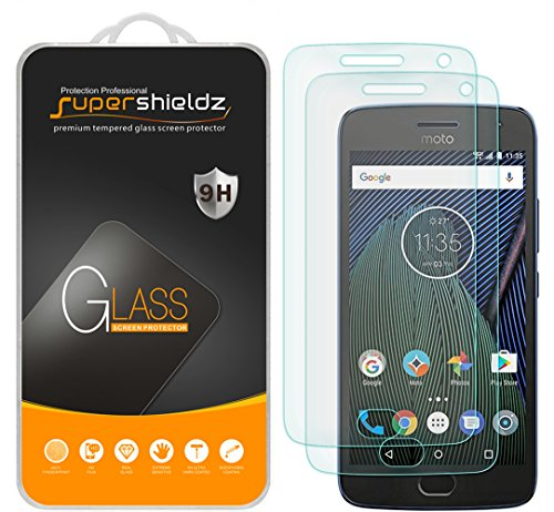 [2-Pack] Supershieldz for Motorola Moto G5 Plus/Moto G Plus (5th Generation) Tempered Glass Screen Protector, Anti-Scratch, Anti-Fingerprint, Bubble Free, Lifetime Replacement Warranty