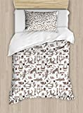 Ambesonne Yoga Duvet Cover Set Twin Size, Cartoon Cat Meditation Hearts Paw Prints Healthy Life Humorous Funny Pattern, Decorative 2 Piece Bedding Set with 1 Pillow Sham, Taupe Brown White