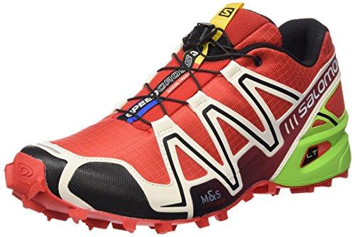 Salomon Mens Speedcross 3 Trail Running Shoe Radiant Red / Light Grey / Granny Green YwwN8p