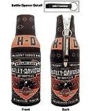 Harley-Davidson Conquest Black Bottle Koozie Zippered w/ Bottle Opener BZ121730