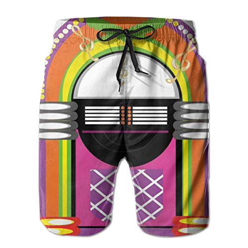 Men Swim Trunks Beach Shorts,Cartoon Vivid Ethnic Design Vintage Music Notes Radio Box Artwork L