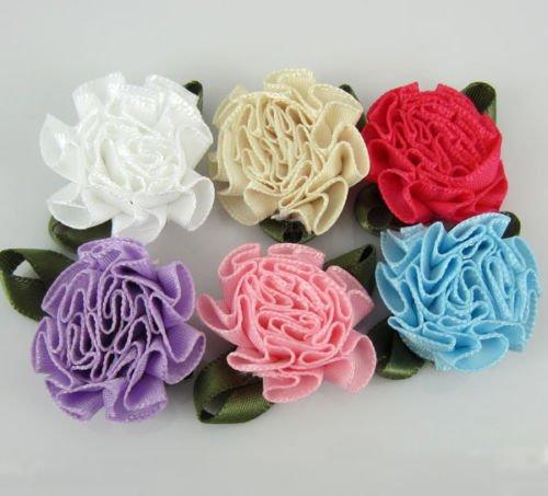 Mixed Color Artificial Flowers Satin Ribbon Carnation Flower Applique Craft Christmas Wedding Decorations 25 mm (60Pcs)
