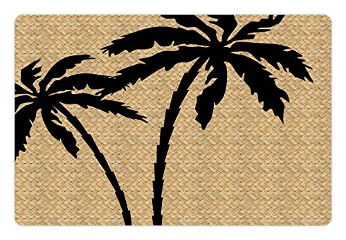 Ambesonne Tropical Pet Mat for Food and Water, Composition with Palm Tree Silhouettes with Zigzag Style Background…