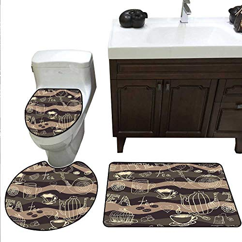 (Tea Party Bath mat and Toilet mat Set Stylized Tea Lettering Hot Pots Coffee Beans Doodle Hearts on Wavy Lines Bathroom Toilet mat Set Cocoa Brown Cream)
