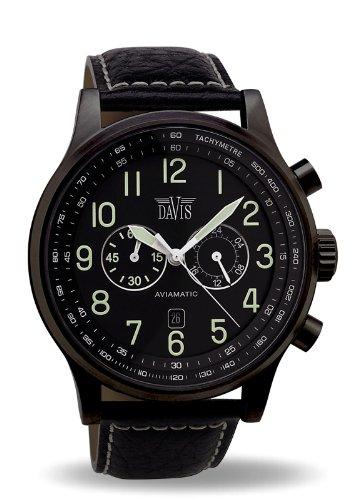 Davis 0452 - Reloj aviador para hombre 48 mm, cuarzo, cronógrafo sumergible 50M, correa de piel, color negro con pespunte: Davis: Amazon.es: Relojes