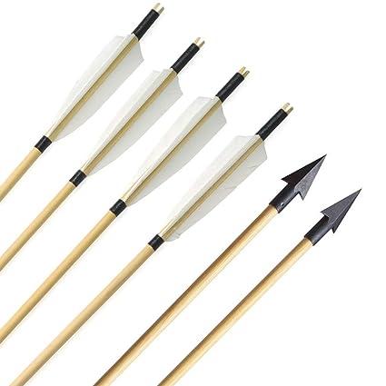 AMEYXGS 6//12 pcs Tiro con Arco Flecha de Madera 31 Flechas de Caza con Plumas de Pavo de Caza para Arco Largo Recurve y Arco Tradicional