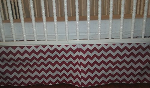 Red and White Chevron crib Skirt Tailored, Box-Pleat Baby Crib Skirt. Fits Toddler's Bed, New, 14 inches long. Zigzag. Baby Nursery Decor. Free shipping. - Pleats Striped Skirt