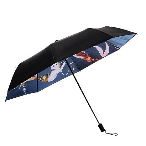 AFCITY Mujer Hombre Paraguas Viaje Patrón de Gato Paraguas Negro Paraguas de Las Mujeres protección UV
