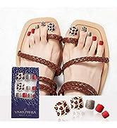 Leopard False Toenails Tips Designed Full Cover Square Tips for Toe Glossy Glitter Foot Nail Art ...