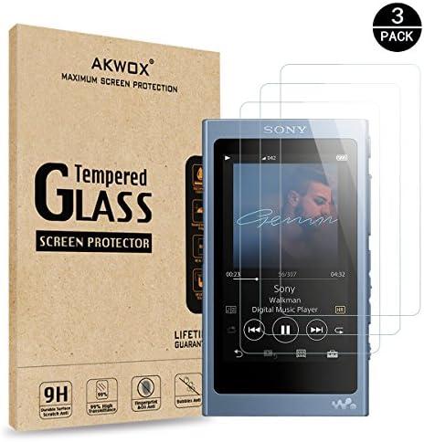 AKWOX [3 Stück] Sony NWA45N Schutzfolie aus Panzerglas, 9H Härte Schutzglas für Sony Walkman NW-A45HN/A46HN/A47HN Displayschutz