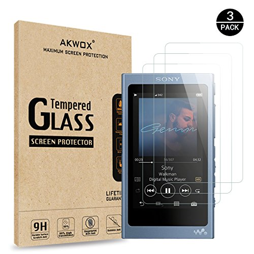 AKWOX Pack of 3 Tempered Glass Screen Protector For Sony NW-A45, [0.3mm 2.5D High Definition 9H Hardnessm] Screen Protector for Sony NW A40 A45 A46 A47