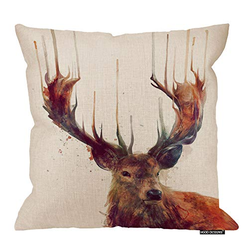 (HGOD DESIGNS Decorative Cotton Linen Vintage Deer Throw Pillow Case Cover Animal Style Cushion Cover Case 18 X 18 Decor Square Cushion Covers)