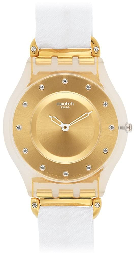 Amazon.com: Swatch Womens SFK374G White Silk Bimaterial Watch: Swatch: Watches