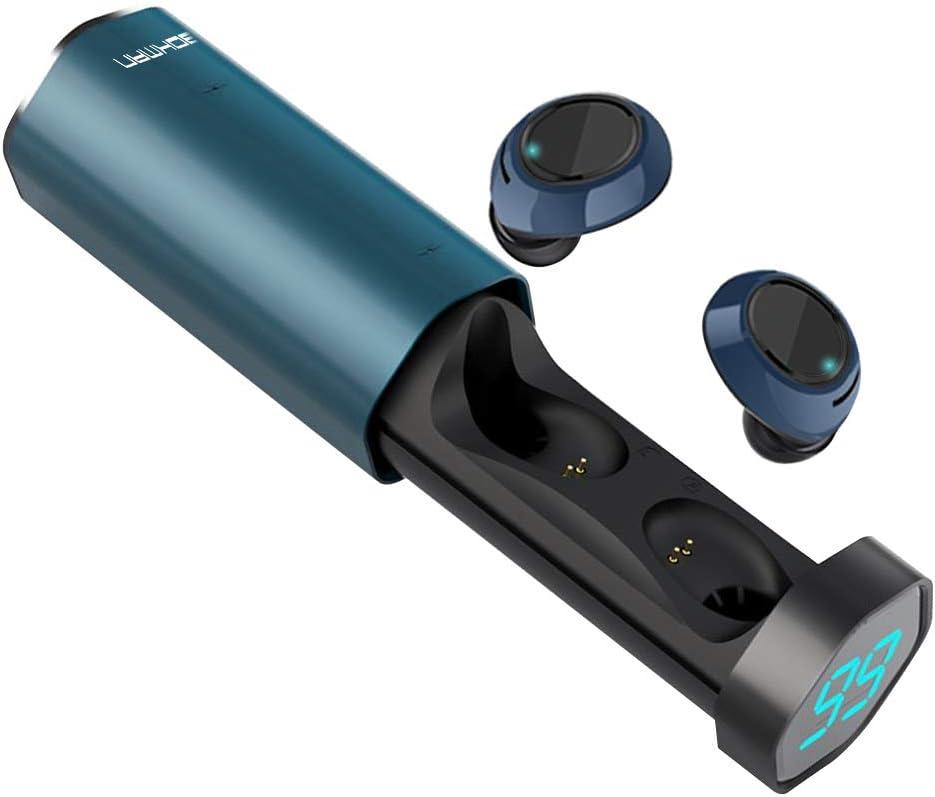Auriculares Bluetooth, Bokman T2 Auriculares Bluetooth Inalámbricos Mini Twins Estéreo IPX5 In-Ear Bluetooth 5.0 con Caja de Carga Portátil Y Micrófono Integrado para iPhone y Android (Azul)