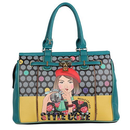 Nicole Lee Women's Polka Dot [Green] Print Overnighter Padded Laptop Compartment Travel Shoulder Bag, Clara Loves Photo, One Size