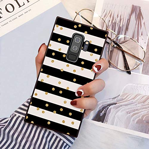 YaoLang Samsung Galaxy S9 Plus Square Edges Case, Stripes Glitter Polka Dot Soft TPU Slim Square Case for Samsung Galaxy S9 Plus
