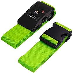 BlueCosto Luggage Strap TSA Approved Combination Lock Adjustable Suitcase Straps Travel Belt - Green
