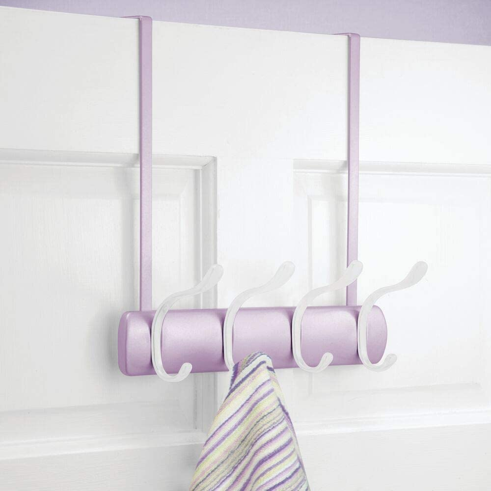 mDesign Over The Door Coat Rack - Coat Rail with 4 Door Coat Hooks for Jackets, Robes, Scarves and Towels - Closet Coat Rack - White/Chrome Wisteria/White