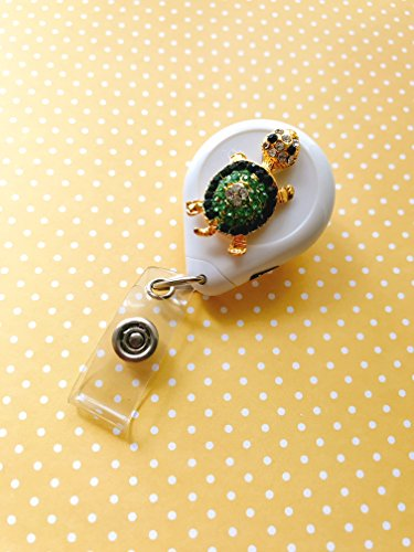 Green Turtle Reel No Twist White Decorated Retractable Badge Reel ID Holder with Clip Backing Badge Reel No Sticker