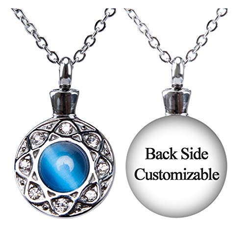 (Fanery Sue Personalized Custom Cremation Urn Necklace for Ashes Memorial Stainless Steel Pendant W/Cat Eye Stone (Ocean Blue Engraving))