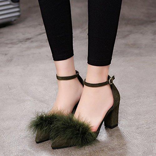 de Qiqi hembra punta felpa verde zapatos Luz ranurada con solo de alta Xue gruesas correa raso de Shoes Heel Ejército peluches 34 de qYUwdqSx