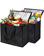 NZ Home 2 Pack Insulated Reusable Grocery Bags, Extra Large, Foldable, Stands Upright, Sturdy Zipper