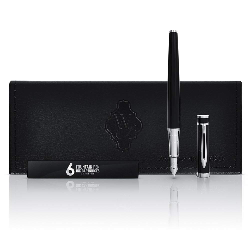 Wordsworth & Black Fountain Pen Set [BLACK CHROME TRIM] - Medium Nib Calligraphy and Scribe Tool - Includes 6 Ink Cartridges & Ink Refill Converter with Luxury Gift Case - Perfect for Men and Women by Wordsworth & Black (Image #3)