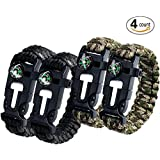 Aootech Paracord Bracelet Kit Outdoor Survival Camping Hiking Gear with Compass, Fire Starter, Whistle And Emergency...