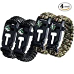 Aootech Paracord Bracelet Kit Outdoor Survival Bracelet Camping Hiking Gear with Compass Fire Starter Whistle And Emergency Knife Pack of 4