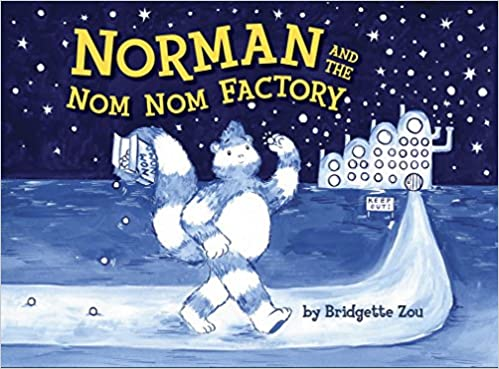 book cover shows snow man.