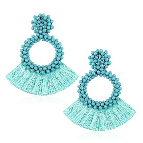 Tassel Bead Statement Earrings for Women Girls Handmade Bohemian Beaded Hoop Round Thread Fringe Drop Prom Studs Jewelry Accessories Gift for Daughter Niece with Gushion Present Box GUE130 Mint -
