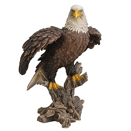 Pacific Giftware Realistic Looking Majestic Bald Eagle On Stump Statue Detailed Sculpture Amazing Likeness Life Size Scale Resin Sculpture Hand Painted Statue Indoor Outdoor Decor ()