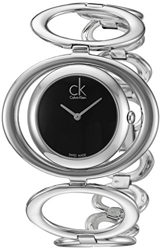 Calvin Klein Women's 'Graceful' Swiss Quartz Stainless Steel Watch, Color:Silver-Toned (Model: - Klein Calvin Reading Case Glasses