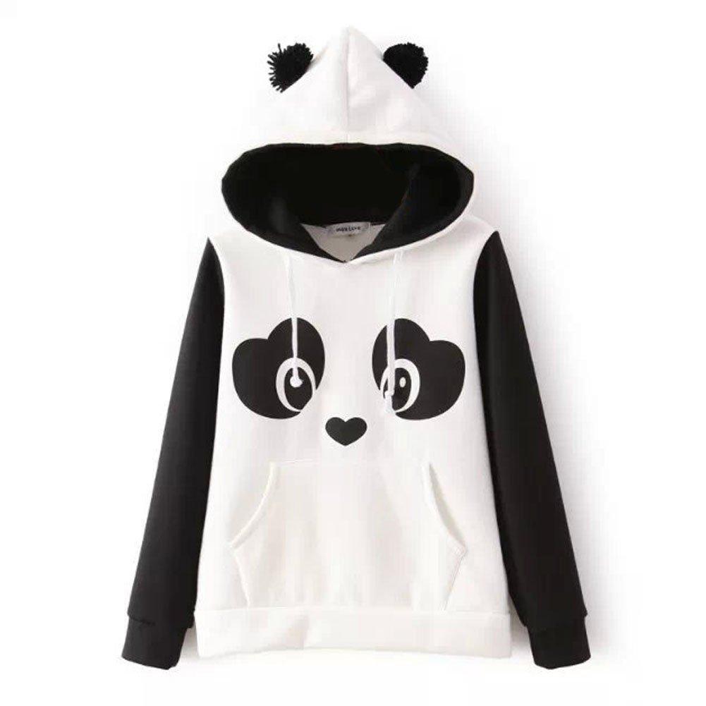 Landove Panda Sweatshirt Women Hooded Top With Ears Pocket Cute ...