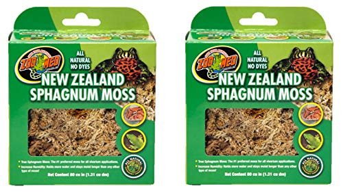 Zoo Med Laboratories SZMCF3NZ New Zealand Sphagnum Moss, 80 Cubic Inch (2 Pack)