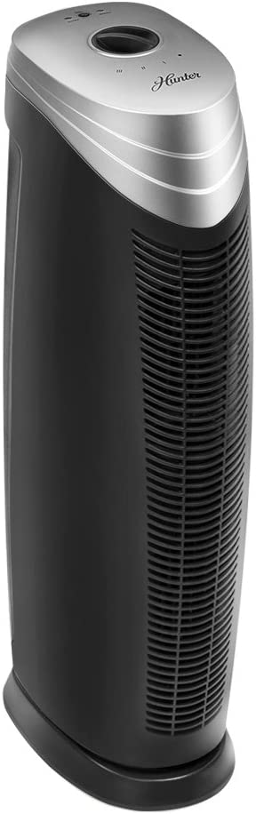 Hunter HT1701 Air Purifier with ViRo-Silver Pre-Filter and HEPA+ Filter, for Allergies, Germs, Mold, Dust, Pets, Smoke, Pollen, Odors, for Large Rooms, 27-Inch Titanium/Black Air Cleaner