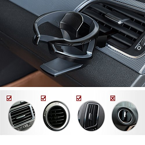 - UMISKY Car Cup Holder, Adjustable Car Air Vent Cup Mount, Universal Smart Drink Clip-on Holder Soft Drink Water Coffee Bottle Stand (Black)