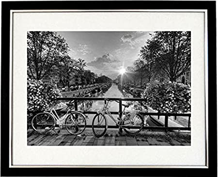 Amsterdam sunrise framed black white print of the canals an bridges of
