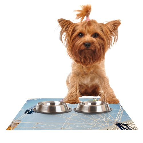 Kess InHouse Susannah Tucker The Show Came to Town  Carnival Feeding Mat for Pet Bowl, 18 by 13-Inch