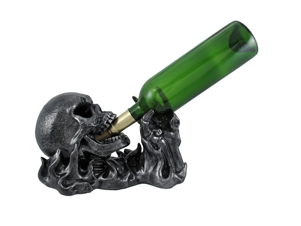 Gargle of Wine Skull Engulfed by Flames - Skeleton Wine Holder by DWK